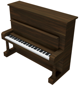 A brown vertical piano and a white background