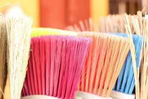 Brooms in various colors