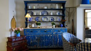 A blue cabinet.