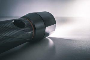 A flashlight shining over the floor