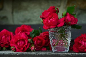 Roses in a glass.
