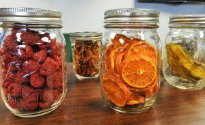 Dried fruit in mason jars.