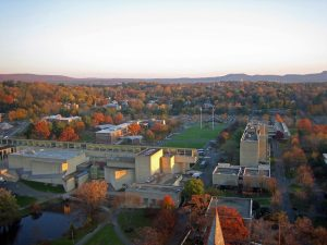 Amherst college as seen from above.