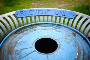 blue trash bin