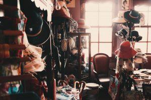 room full of clutter