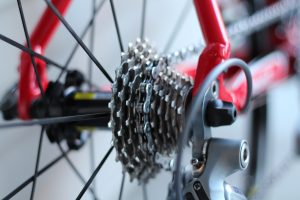 close up shot of a rear bicycle chain