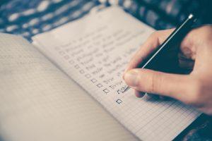 Preparing a packing checklist- a checklist